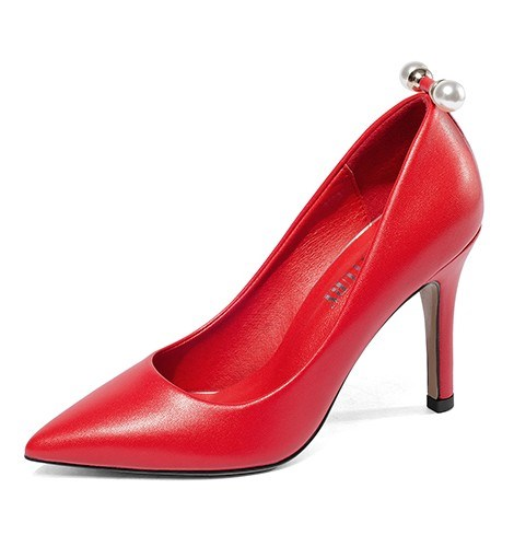 2021 spring and autumn leather single Shoes Sexy thin high heel versatile fashion small pointed ol high grade pearl girl
