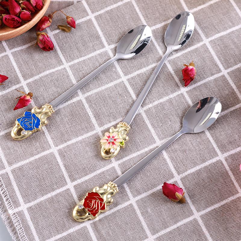 珐琅彩勺子家用创意不锈钢调羹餐具新品长柄搅拌咖啡勺甜品点心
