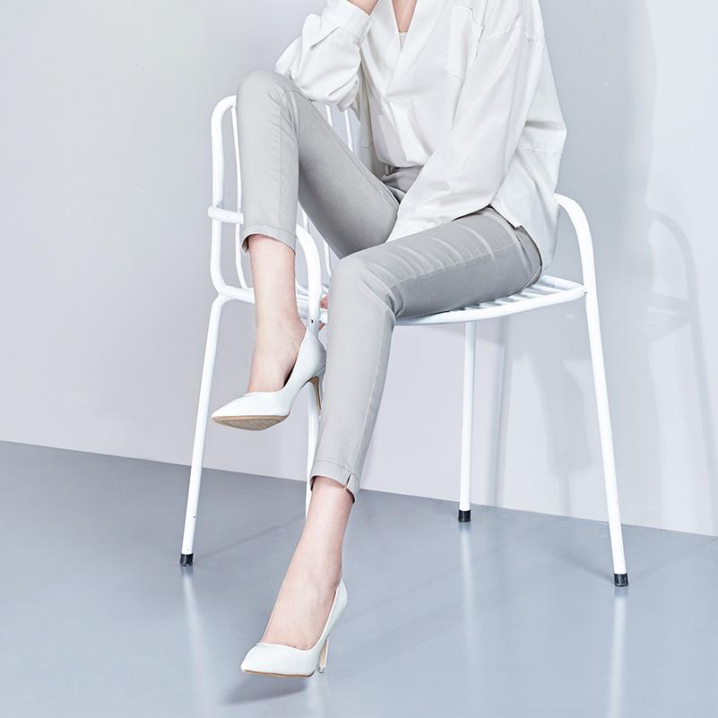 女裤2021新款显瘦小脚铅笔女九分裤子夏季高腰灰色高端女士牛仔裤
