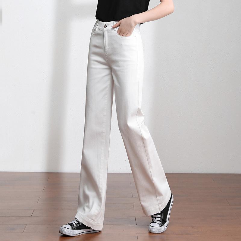 雅思诚白色牛仔裤女2021年秋季新款高腰直筒仔裤春秋显瘦阔腿女裤