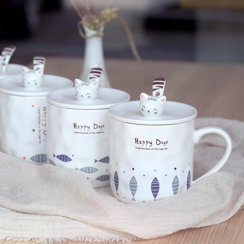 可爱猫咪陶瓷杯卡通马克杯创意办公水杯情侣杯子牛奶咖啡杯带盖勺(非品牌)