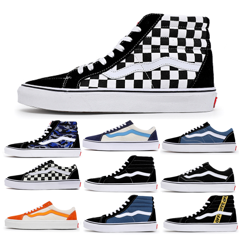 Vansconton authentic official website mens shoes summer high top black and white chessboard classic student canvas shoes womens shoes