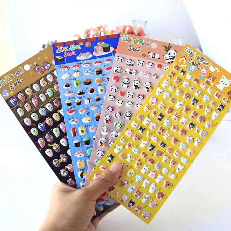 儿童卡通立体泡绵贴寿司食物熊猫动物小颗粒泡泡贴纸迷你奖励贴画