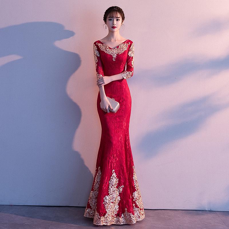 敬酒服新娘2021新款秋季红色结婚简单大气鱼尾气质宴会晚礼服裙女