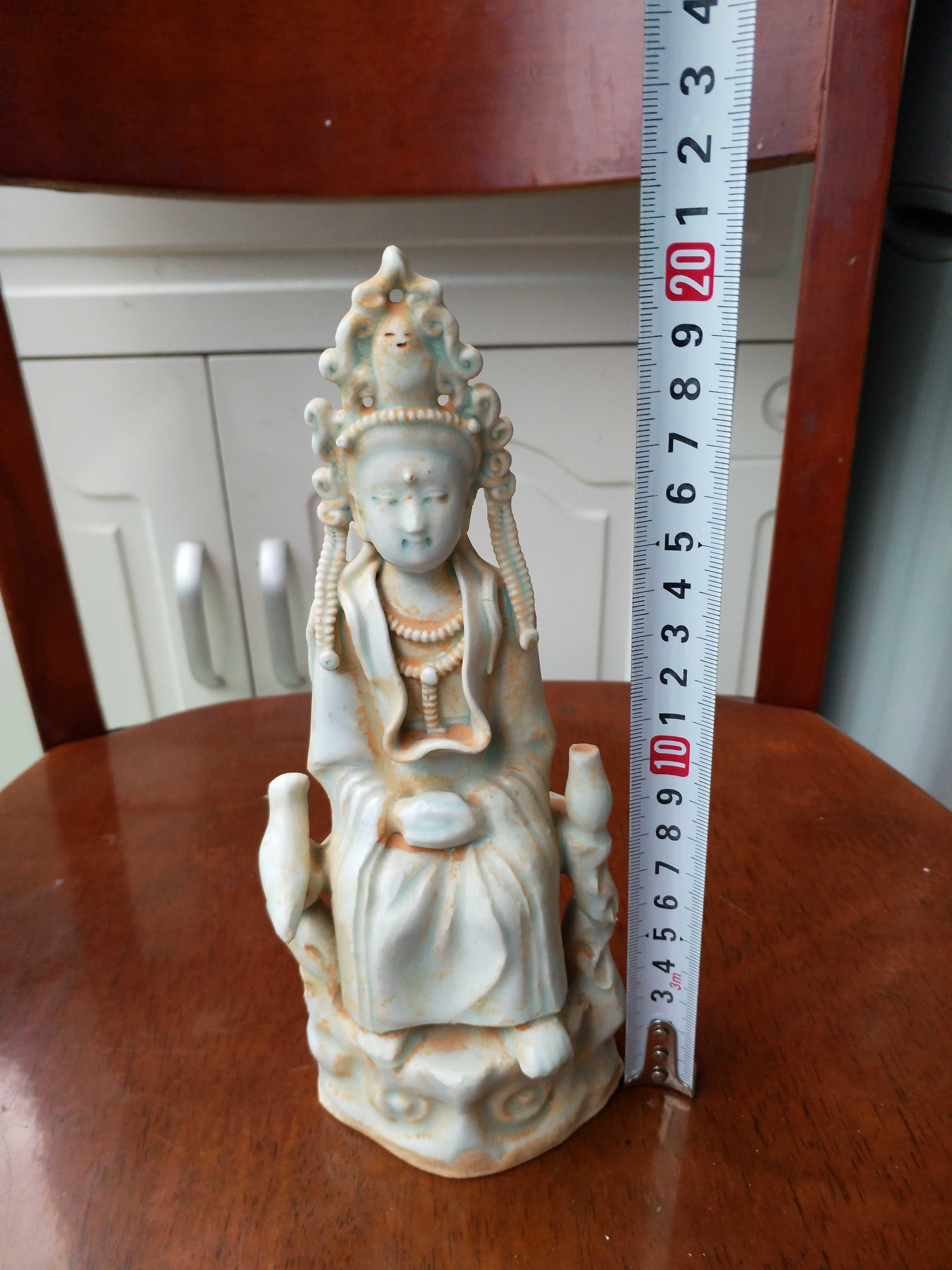 宋朝代湖田窑影青釉观音佛像 古董古瓷器收藏旧货出土摆件