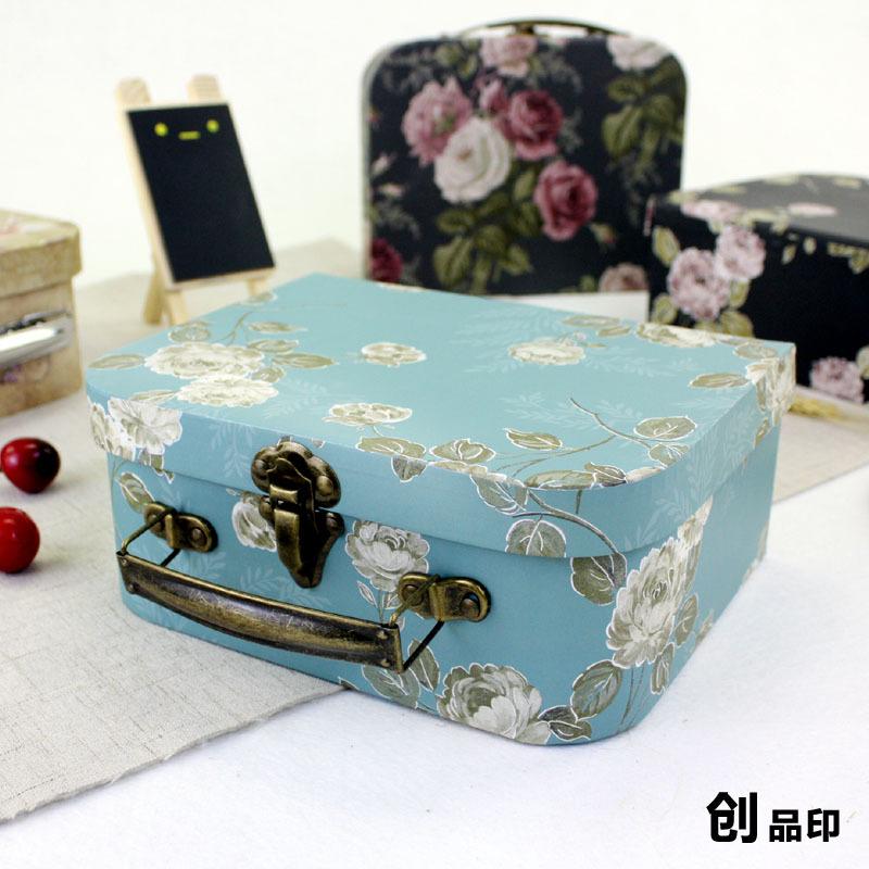 创意礼品盒韩版长方形礼物提手包装盒 提箱式古典田园风 蓝粉礼盒