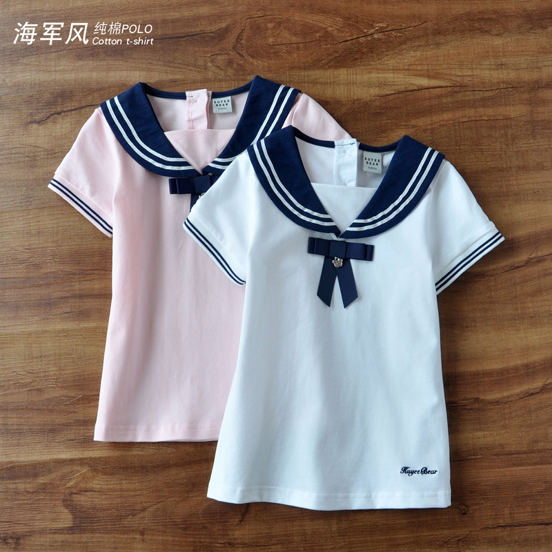 女童短袖t恤纯棉2020新款海军风洋气上衣宽松宝宝夏装童装打底衫