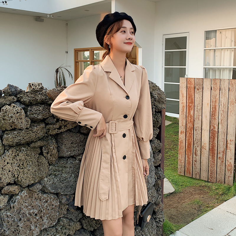 Only Khaki ~ live shooting ~ small video ~ solid color simple suit collar waist Pleated Dress