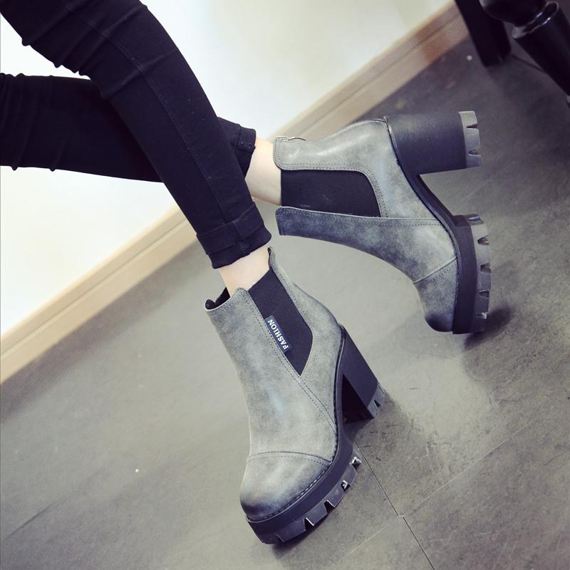 2018秋冬季粗跟短靴百搭马丁靴防水台高跟女鞋新款英伦风圆头靴子