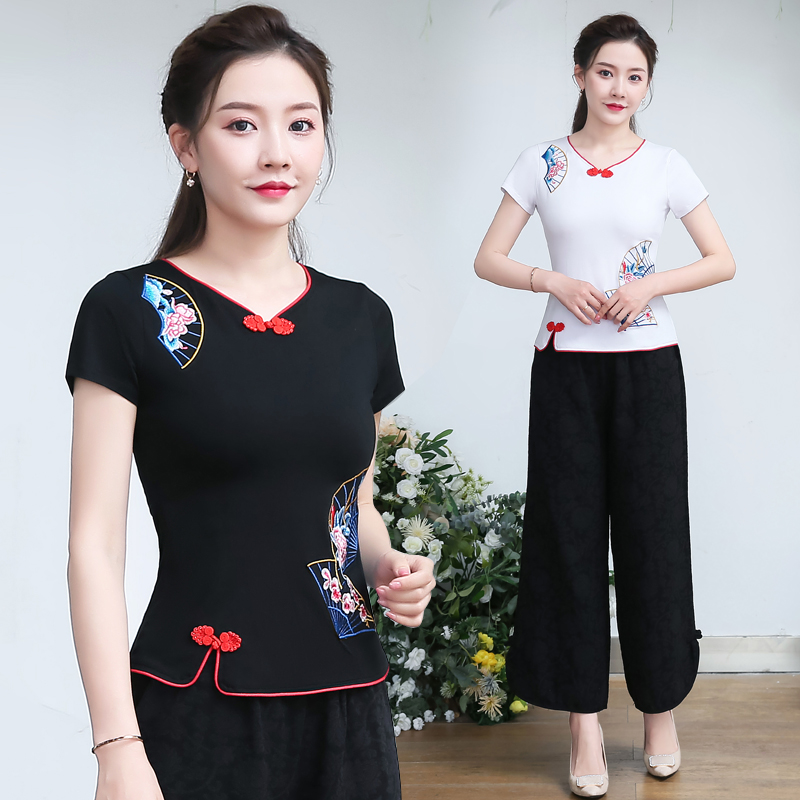 2021 summer ethnic style embroidery slim fit large short sleeve cotton T-shirt Chinese style retro button top female