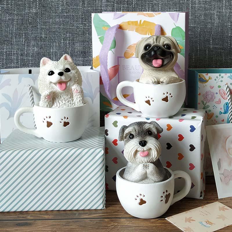 创意小狗树脂摆件可爱茶杯犬桌面装饰品摆设萌动物朋友同事小礼物