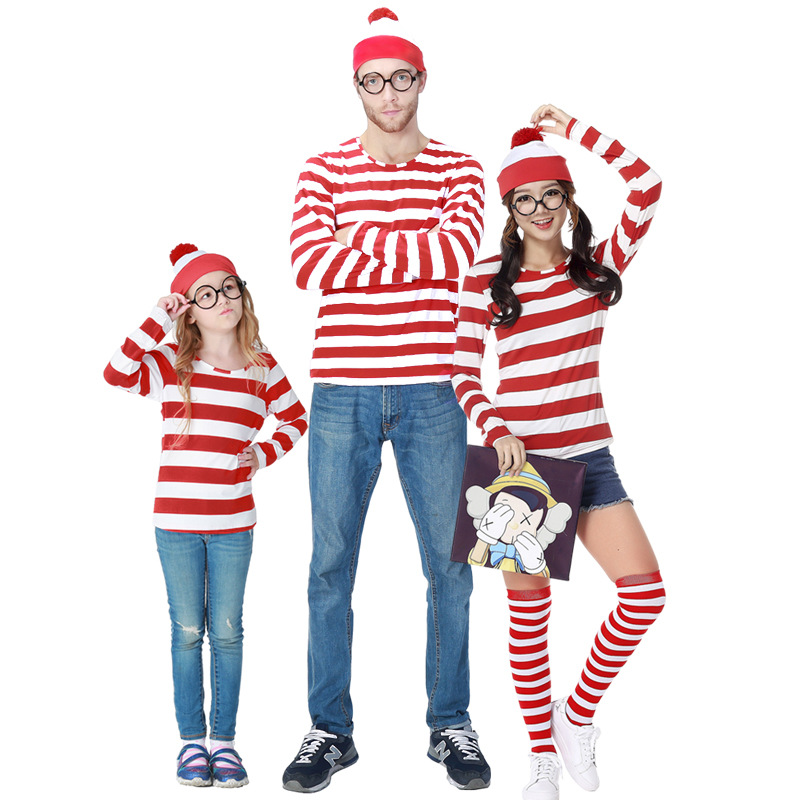New Halloween Wally wheres Wally couple family parent-child costume smart Wally cos Costume