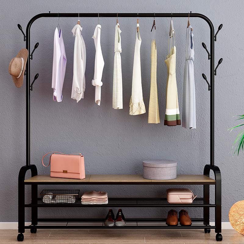 落地挂衣架单杆式晾衣杆室内简易衣架家用卧室衣服架子折叠凉衣架