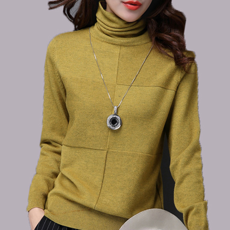 High collar sweater women autumn winter Korean Short Pullover slim thin pile neck sweater cardigan bottoming sweater