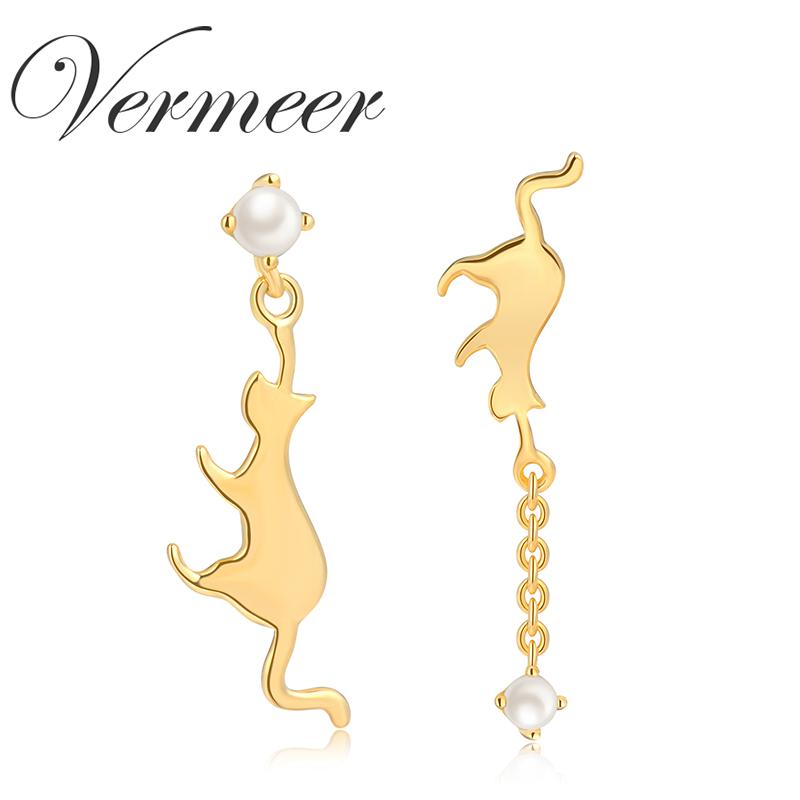 vermeer日本akoya天然海水珍珠耳钉耳饰猫925纯银耳钉珠宝送女友