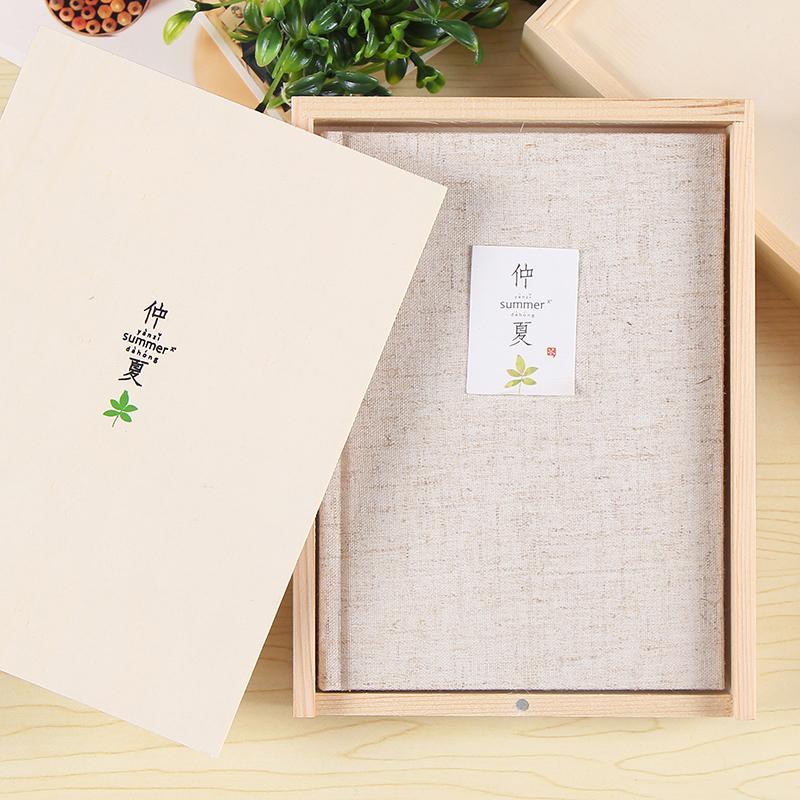初品/仲夏 彩页木盒装日记本 创意唯美布面记事本文具笔记本子 A5