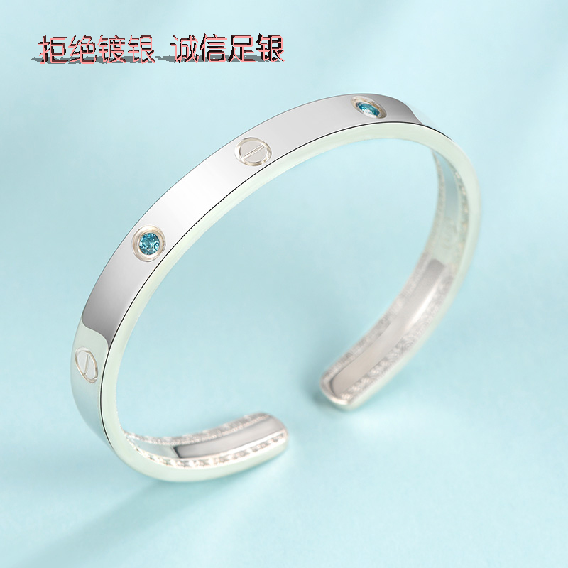 Boutique original design classic fashion simple style 999 sterling silver jewelry inlaid bracelet for mothers best friend