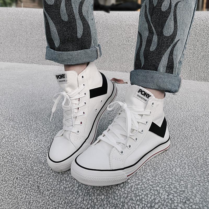 PONY波尼帆布鞋男鞋女鞋2021夏季经典时尚百搭高帮硫化鞋92W1SH08