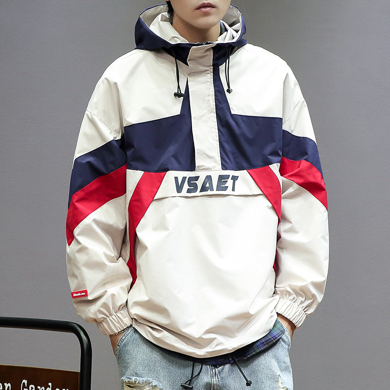 B30 hooded Pullover Jacket mens spring color matching mens coat fashion brand leisure functional tooling