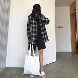 復古港風chic春季原宿黑白格子衫寬鬆長袖磨毛襯衫襯衣外套女港味