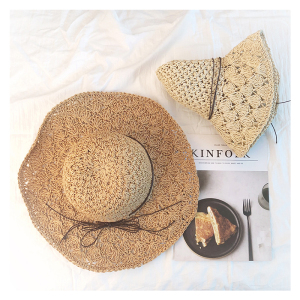 韩版可折叠手工大沿草帽女夏天百搭小清新海边沙滩夏防晒遮阳帽子