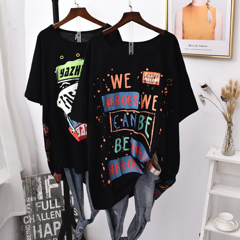 欧洲站夏季新款大码宽松显瘦百搭个性短袖T恤女装潮牌时髦ins韩范