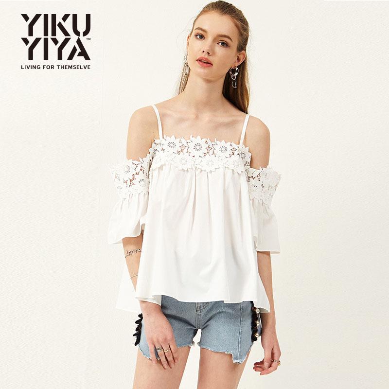 Sweet little fresh flower lace stitching shoulder leakage 5 / 5 sleeve loose white worry free matching sling shirt
