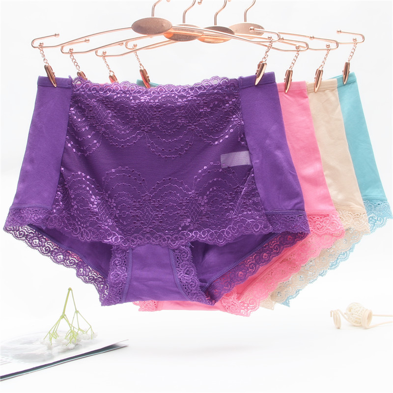 Sexy womens underwear 4 pieces with lace edge, middle waist, modal cotton fabric, breathable large size briefs for women