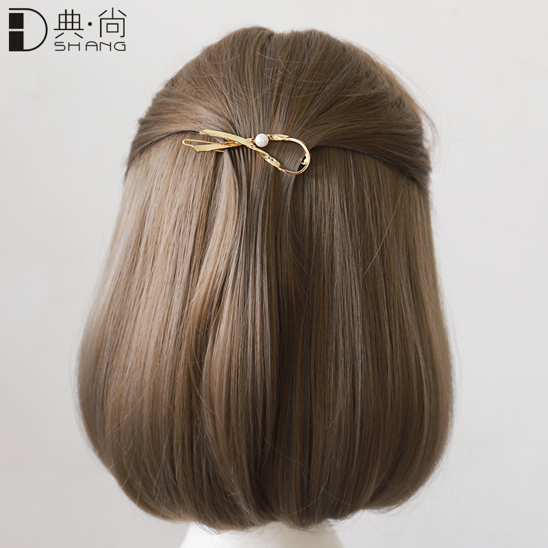 青蛙扣发夹仿珍珠女韩国发卡头饰刘海夹顶夹后脑勺简约少女边夹