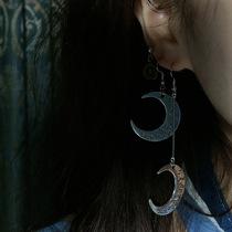 日系原宿风土酷月亮耳环 简约复古百搭长款耳夹耳饰潮蹦迪耳饰172