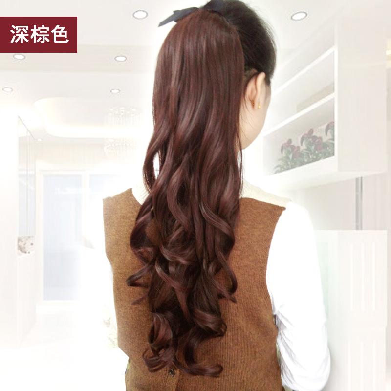 Wig horsetail womens long curly hair bandage pear curly wig horsetail big wave realistic medium length horsetail wig