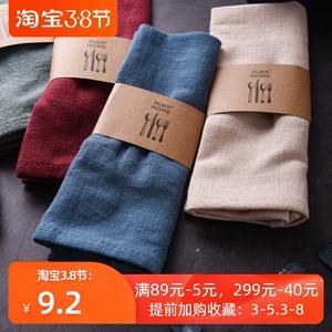 日式家用餐巾西餐厅口布折花布棉麻擦杯布长方形茶巾隔热盘垫碗垫