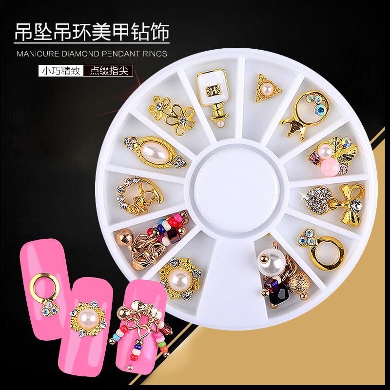 玫瑾圓盤日式美甲飾品 鋯石寶石鏤空鑽飾 長方皮革 長條金條弔墜