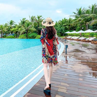 沙滩裙女小个子海边度假连衣裙三亚波西米亚显瘦2019新款海滩裙夏