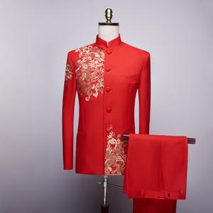 青年中山装大合唱演出服男中式新郎结婚礼服中国风主持人歌手服装