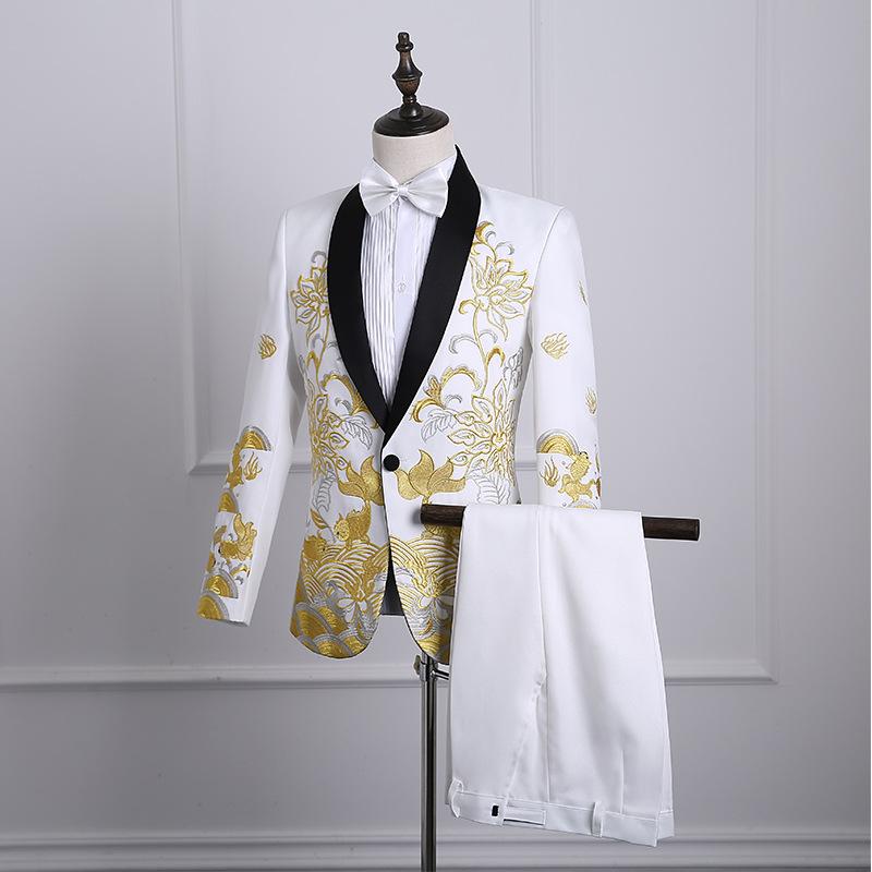 中式新郎敬酒礼服刺绣结婚西服主持人歌手大合唱演出服装秀禾服男
