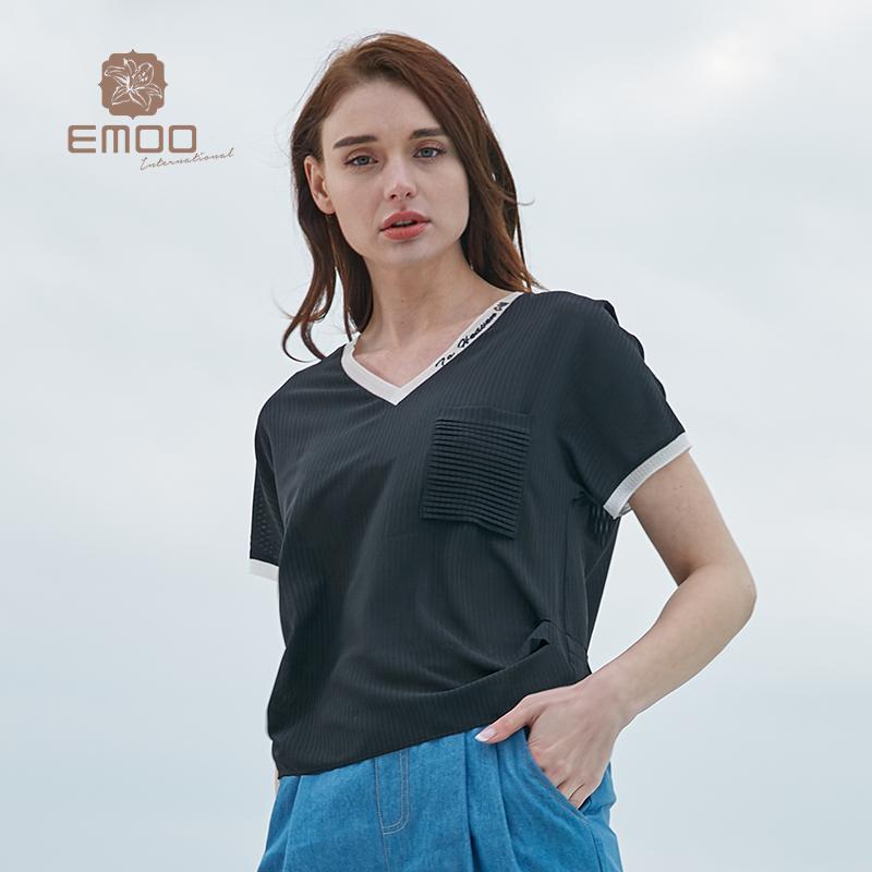 EMOO杨门雪纺纯色t恤女2019新款宽松拼接V领上衣短袖打底衫夏