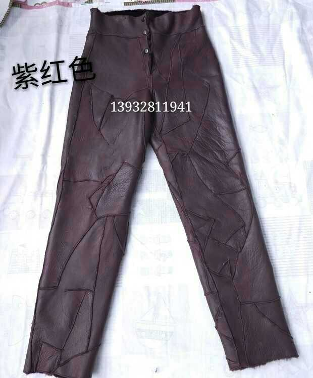 Winter mens and womens leather fur integrated leather pants middle-aged and old peoples warm cotton pants windproof liner high waist leather pants