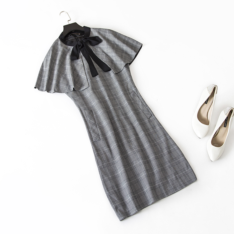 A new dress with two senses grey simple commuter Plaid two-piece dress temperament goddess style