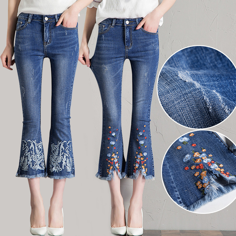 Summer micro flare Denim Capris womens thin embroidered lace flared pants Korean high waist elastic Capris fashion