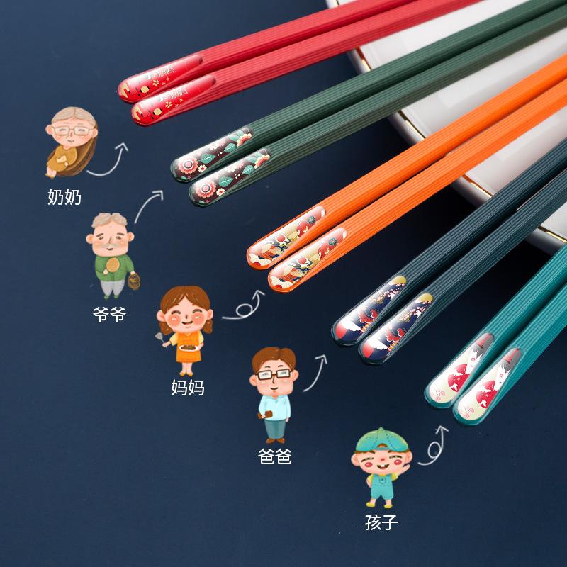 筷子家用防潮日式尖头筷子防滑一人一筷合金筷子分餐筷子ZXD25淘宝优惠券