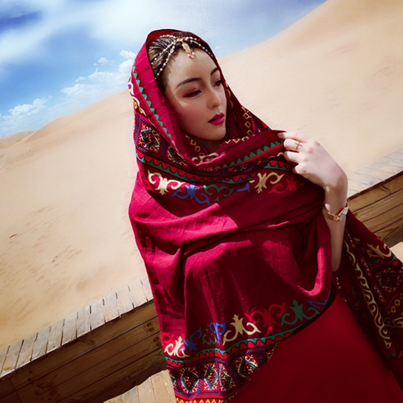 Summer thin desert silk scarf Dubai tourism photo ethnic wind sunscreen shawl large beach towel versatile scarf