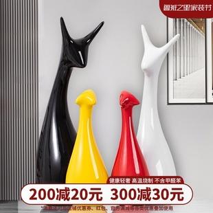 饰品桌面轻奢房间北欧创意小鹿 现代陶瓷家居摆件客厅卧室内酒柜装