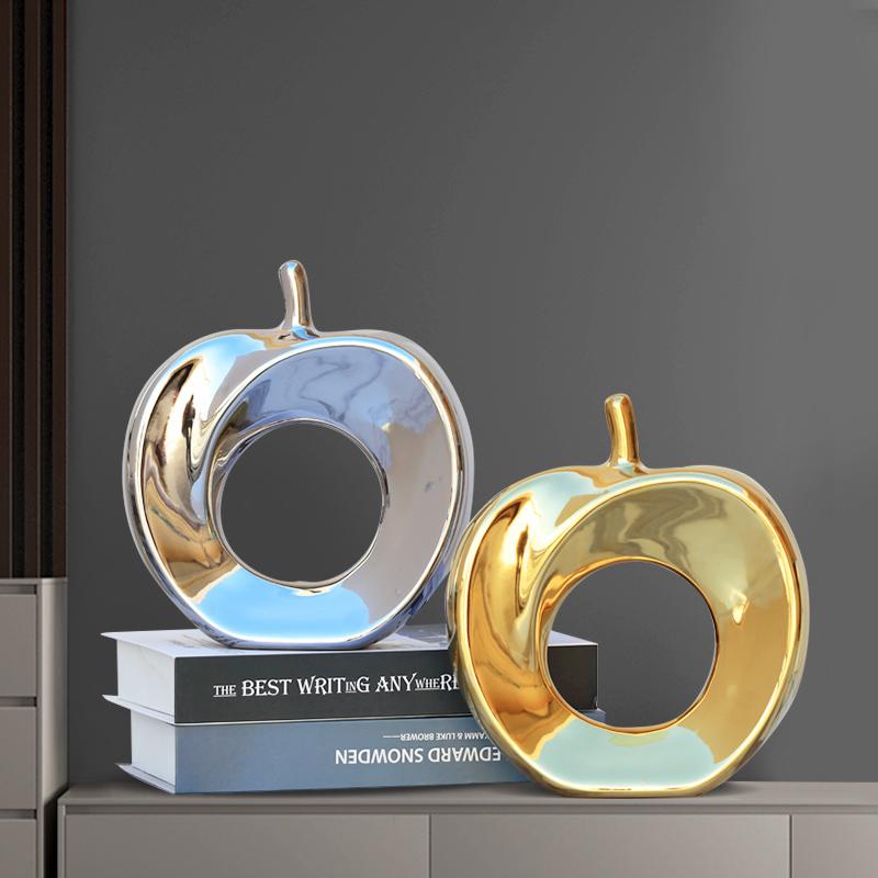 金苹果小摆件家居创意欧式客厅电视酒柜陶瓷工艺品软装新年装饰品