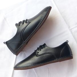 男休闲皮鞋2020冬季新款加绒保暖韩版百搭英伦平底系带小皮鞋软底