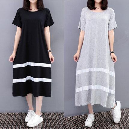 孕妇夏装连衣裙女韩版宽松加肥加大码200斤显瘦中长款打底长裙子