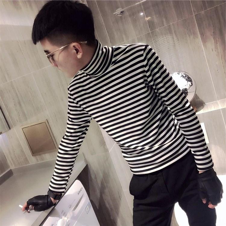 秋冬季高领黑白横条纹T恤男长袖休闲衣服纯棉打底衫社会小伙上衣