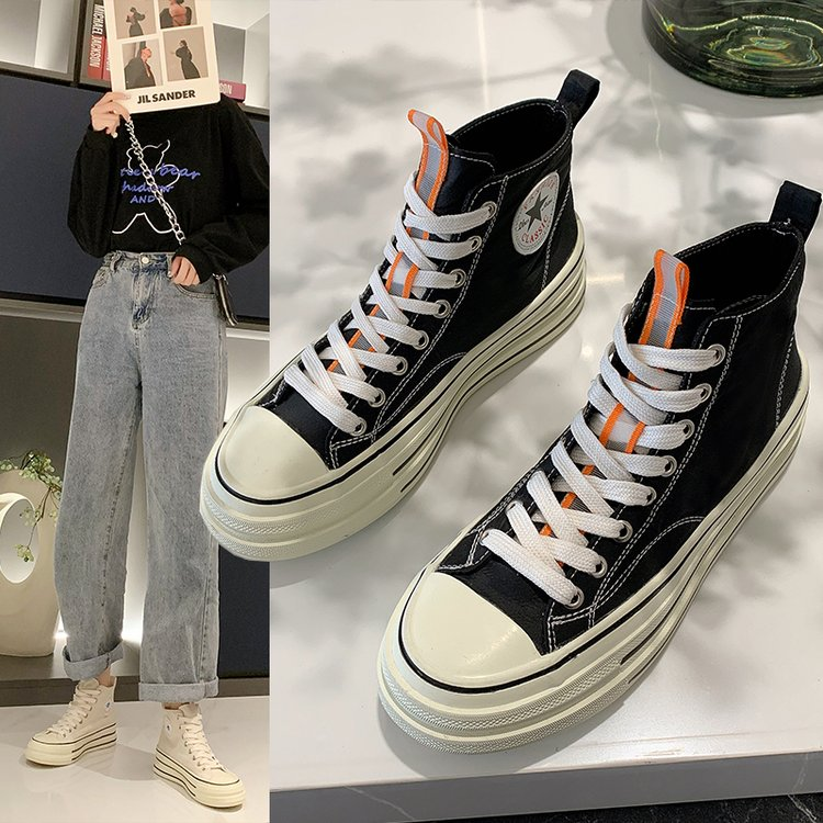 Thick soled high top canvas shoes womens 2021 Hong Kong version new sweet model versatile light casual style small Muffin