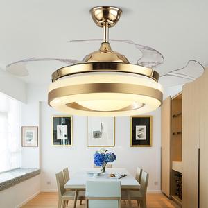 吊扇灯隐形 LED餐厅风扇灯客厅卧室家用简约现代带电风扇的吊灯