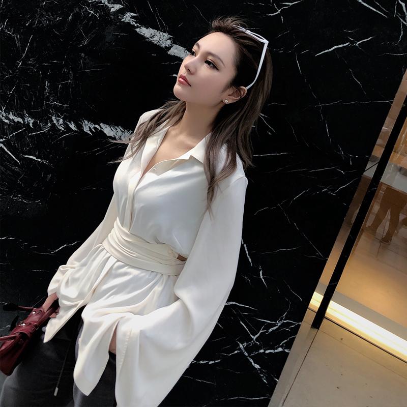 周扬青 ins收腰绑带喇叭袖衬衫裙韩版中长款宽松显瘦缎面长袖上衣